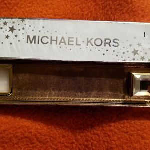 Micheal Kors Leather Rhinestone Cuff Bracelet